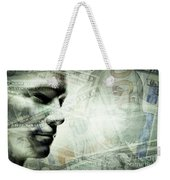 Human Man Face And Dollars Double Exposure. Weekender Tote Bag