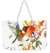 Hummingbird And Orange Flowers Weekender Tote Bag