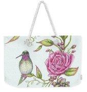 Hummingbird And Rose Weekender Tote Bag