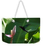 Hummingbird At Banana Flower Weekender Tote Bag