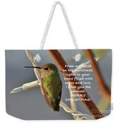 Hummingbird Christmas Card Weekender Tote Bag