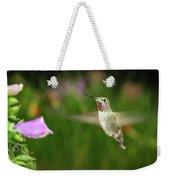 Hummingbird Hovering In Rain Weekender Tote Bag