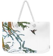 Hummingbird In Flight Isolated On White Sky Weekender Tote Bag