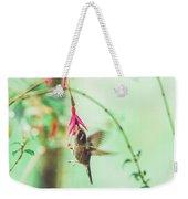 Hummingbird In Flight Sucking On A Juicy Pink Flower Weekender Tote Bag