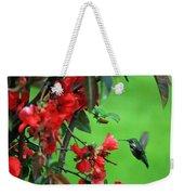 Hummingbird In The Flowering Quince - Digital Painting Weekender Tote Bag