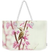 Hummingbird Perched Among Pink Blossoms Weekender Tote Bag