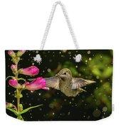 Hummingbird Visits Flowers In Raining Day Weekender Tote Bag