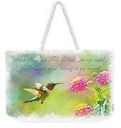 Hummingbird With Bible Verse Weekender Tote Bag