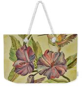 Hummingbirds And Hibiscus Weekender Tote Bag