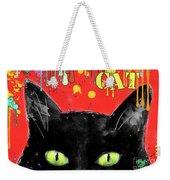 humorous Black cat painting Weekender Tote Bag
