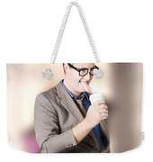 Humorous Businessman Licking Top Of Coffee Cup Weekender Tote Bag
