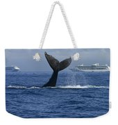 Humpback Whale Tail Lobbing Near Cruise Weekender Tote Bag by Flip Nicklin