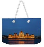Hungarian Parliament Building At Night In Budapest Weekender Tote Bag
