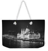 Hungarian Parliament Night Bw Weekender Tote Bag