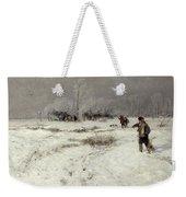 Hunting In The Snow Weekender Tote Bag by Hugo Muhlig