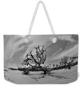 Hunting Island Beach And Driftwood Black And White Weekender Tote Bag
