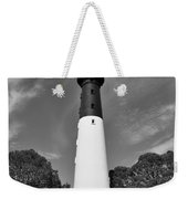 Hunting Island Lighthouse Beaufort Sc Black And White Weekender Tote Bag