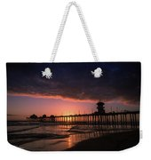 Huntington Pier At Sunset Weekender Tote Bag