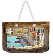 Hvar Bay Aerial View Through Stone Window Weekender Tote Bag