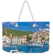 Hvar Yachting Harbor And Historic Architecture Panoramic  Weekender Tote Bag