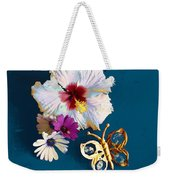 Hybiscus And Butterfly Weekender Tote Bag