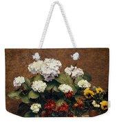 Hydrangeas And Wallflowers And Two Pots Of Pansies Weekender Tote Bag