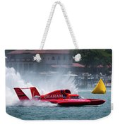 hydroplane racing boat on the Detroit river Weekender Tote Bag