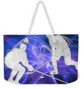 Ice Hockey Players Fighting For The Puck Weekender Tote Bag