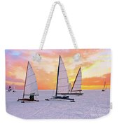 Ice Sailing On The Gouwzee In The Countryside From The Netherlan Weekender Tote Bag