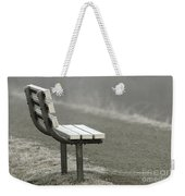 Icy Bench In The Fog Weekender Tote Bag