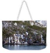 Icy Cliff In Winter Weekender Tote Bag