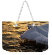 Icy Gold And Silk - Luminous Icicles Reflected On Glossy Water Weekender Tote Bag