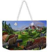 Id Rather Be Farming - Springtime Groundhog Farm Landscape 1 Weekender Tote Bag