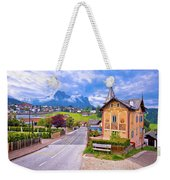 Idyllic Alpine Town Of Kastelruth Architecture And Mountains Vie Weekender Tote Bag