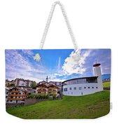 Idyllic Alpine Town Of Kastelruth On Green Hill View Weekender Tote Bag
