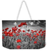 Idyllic Field Of Poppies Colorkey Weekender Tote Bag
