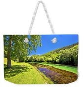 Idyllic Krka River In Knin Landscape Weekender Tote Bag