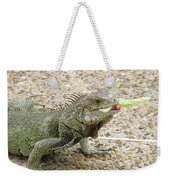 Iguana Eating Lettuce With His Tongue Sticking Out Weekender Tote Bag