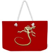 Iguana Skeleton In Gold On Red  Weekender Tote Bag