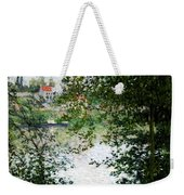 Ile De La Grande Jatte Through The Trees Weekender Tote Bag by Claude Monet