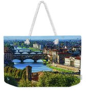 Impressions Of Florence - Long Blue Shadows On The Arno River Weekender Tote Bag