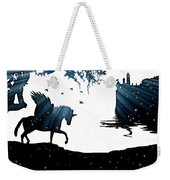 In A Dream, Unicorn, Pegasus And Castle Modern Minimalist Style Weekender Tote Bag