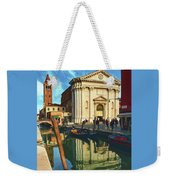 In The Waters Of The Many Venetian Canals Reflected The Majestic Cathedrals, Towers And Bridges Weekender Tote Bag