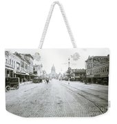In This Historical 1913 Photo, Horse Drawn Carriages In Downtown Austin, Texas Run Up And Down Congress Avenue Cobblestone Streets Leading Up The The Texas State Capitol Weekender Tote Bag