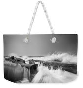 Incoming  La Jolla Rock Formations Black And White Weekender Tote Bag