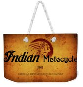 Indian Motocycle 1901 - America's First Motorcycle Company Weekender Tote Bag