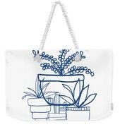 Indigo Potted Succulents- Art By Linda Woods Weekender Tote Bag by Linda Woods