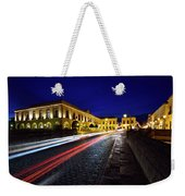 Indigo Sky And Car Lights Over Plaza Espana And Puente Nuevo Bri Weekender Tote Bag