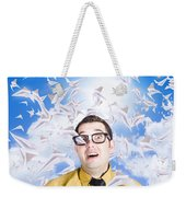 Insane Business Man With Busy Travel Schedule Weekender Tote Bag