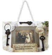 Inspirational Art - Vintage Wedding Photo With Antique Keys - Inspirational Vintage Black Keys Art  Weekender Tote Bag